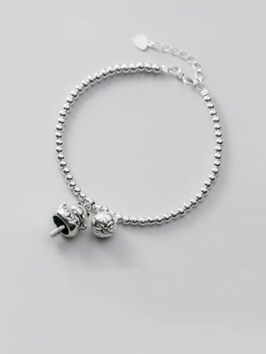 925 Sterling Silver Cute retro Beads Bells Little cat Bracelet