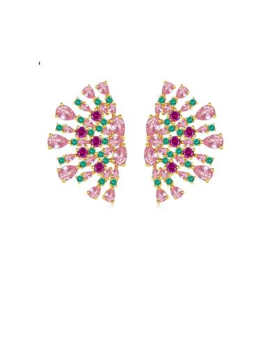 Copper Cubic Zirconia Luxury Multi Color Flower  Stud Earring