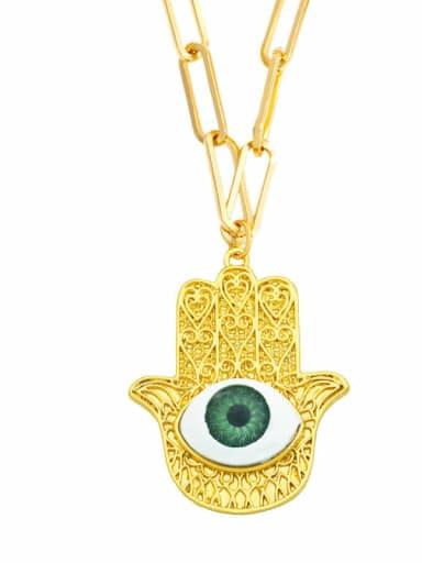 Brass Cubic Zirconia Evil Eye Vintage Necklace