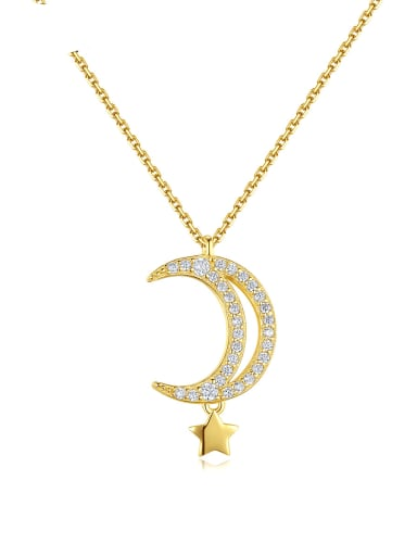925 Sterling Silver Cubic Zirconia Moon Dainty Necklace