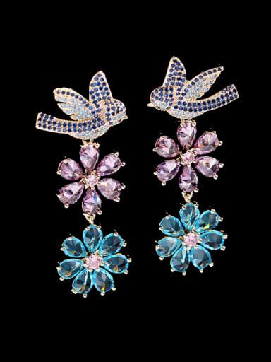 Blue zirconium Brass Cubic Zirconia Flower Statement Cluster Earring