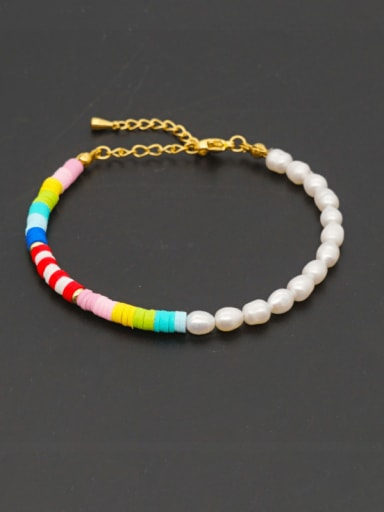Stainless steel Freshwater Pearl Multi Color Polymer Clay Round Bohemia Bracelet