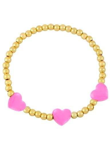 Brass Enamel Heart Trend Beaded Bracelet