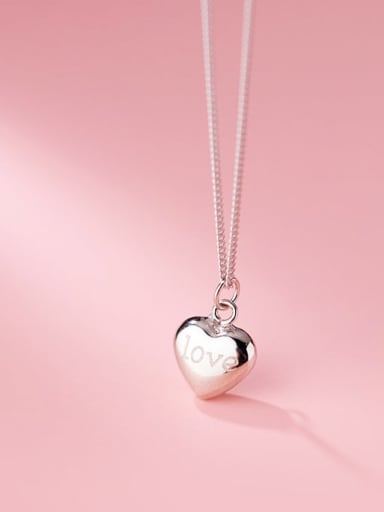 silver 925 Sterling Silver Smooth Heart Minimalist Necklace