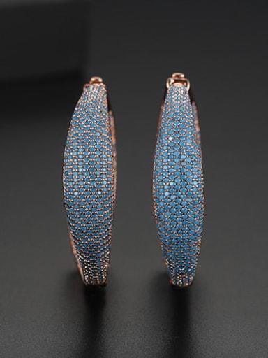 Rose gold t04f20 Brass Rhinestone Geometric Luxury Cluster Earring