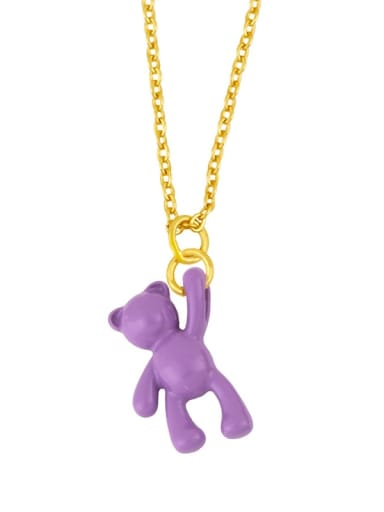 violet Brass Multi Color Enamel  Cute Bear Pendant Necklace