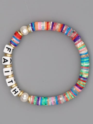 QT B200145E Stainless steel Multi Color Polymer Clay Letter Bohemia Stretch Bracelet