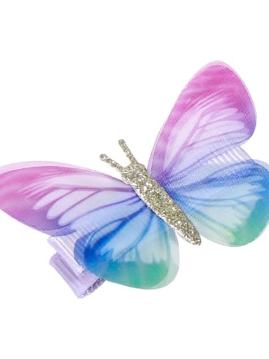 3 Alloy Fabric Cute Butterfly  Multi Color Hair Barrette
