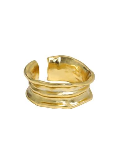 18K Gold 925 Sterling Silver Irregular Vintage Band Ring