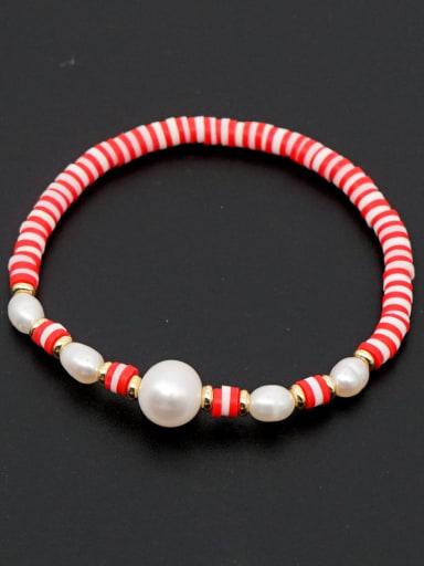 ZZ B200056D Freshwater Pearl Multi Color Polymer Clay Round Bohemia Stretch Bracelet