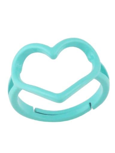 green Brass Enamel Hollow Heart Minimalist Stackable Ring