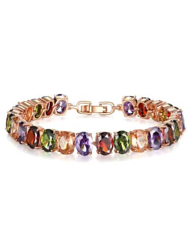 Brass Cubic Zirconia Oval Luxury Bracelet