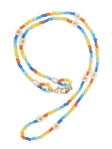 Stainless steel Glass Bead Multi Color Flower Bohemia Hand-woven Necklace