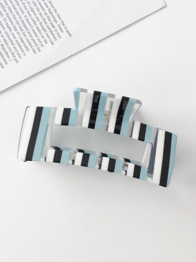 F134 Cellulose Acetate Minimalist Blue striped hollow Alloy Jaw Hair Claw