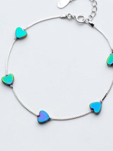 925 Sterling Silver Enamel Heart Minimalist Beaded Bracelet