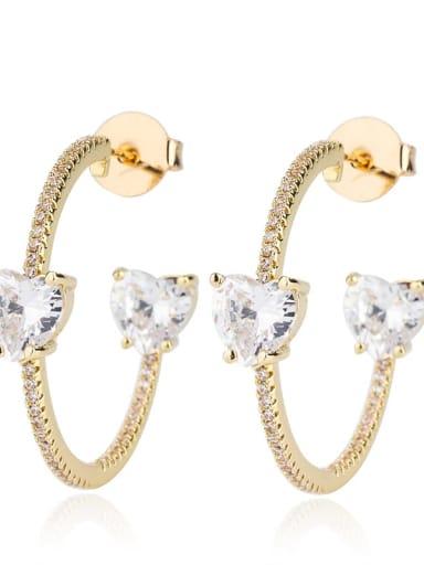White zirconium gold Brass Cubic Zirconia Heart Bohemia Hoop Earring
