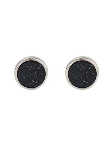 925 Sterling Silver Obsidian Round Minimalist Stud Earring