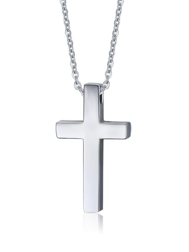 Steel color Stainless Steel  Smooth Cross Minimalist Regligious Necklace