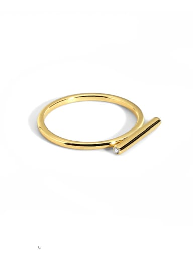 Brass Smooth Geometric Minimalist Band Ring