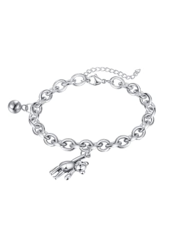 Titanium Steel Bear Hip Hop Link Hollow Chain Bracelet
