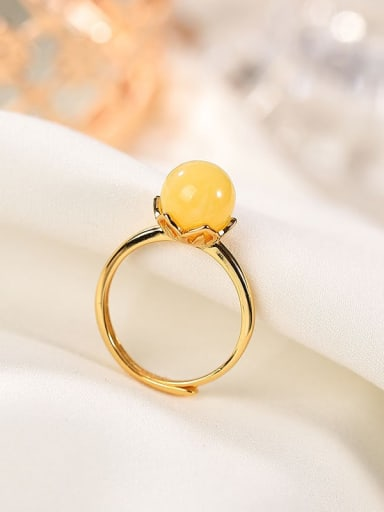 925 Sterling Silver Amber Flower Minimalist Band Ring