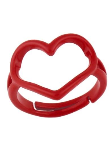 red Brass Enamel Hollow Heart Minimalist Stackable Ring