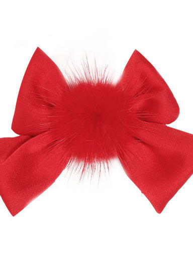 3 festive red Alloy Fabric Cute Bowknot  Multi Color Hair Barrette