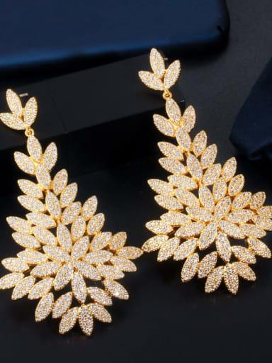 gold Brass Cubic Zirconia Flower Luxury Chandelier Earring
