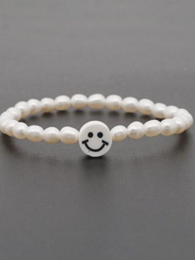 ZZ B200178E Freshwater Pearl Multi Color Smiley Minimalist Stretch Bracelet