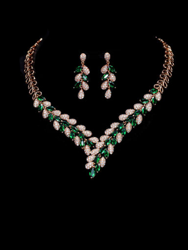 green Brass Cubic Zirconia Luxury Leaf  Earring and Necklace Set