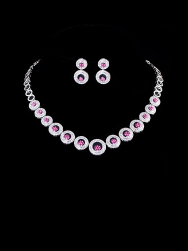 red Brass Cubic Zirconia Luxury Round  Earring and Necklace Set