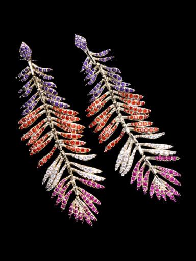 Brass Cubic Zirconia Leaf Bohemia Cluster Earring
