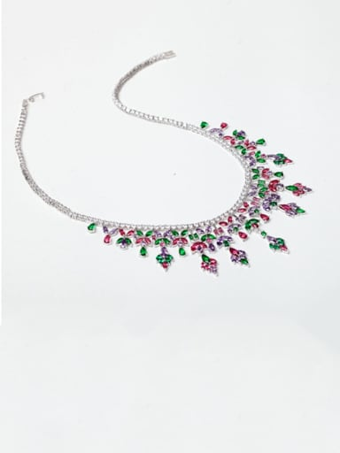 Copper Cubic Zirconia Tassel Luxury Tassel Necklace