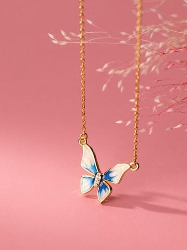 925 Sterling Silver Enamel Butterfly Minimalist Necklace