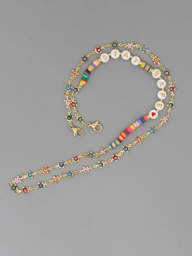 JS N200014E Stainless steel Bead Multi Color Polymer Clay Evil Eye Bohemia Hand-woven Necklace