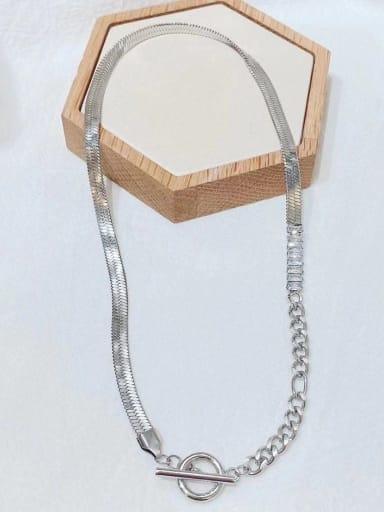 Titanium Steel Cubic Zirconia Irregular Hip Hop Necklace