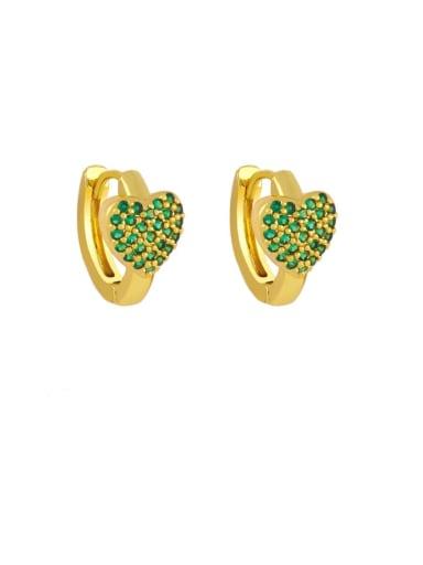 green Brass Cubic Zirconia Heart Bohemia Stud Earring