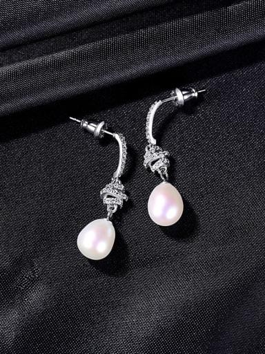 W 9B05 925 Sterling Silver Imitation Pearl Water Drop Dainty Drop Earring