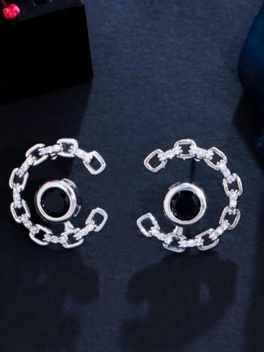 black Brass Cubic Zirconia Geometric Luxury Stud Earring