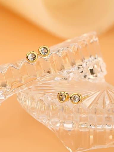 Brass Rhinestone Geometric Minimalist Stud Earring