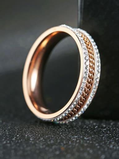 Titanium Steel Rhinestone Round Minimalist Stackable Ring