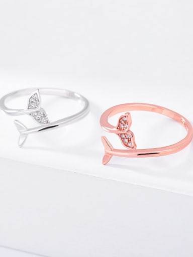 925 Sterling Silver Cubic Zirconia Fish Minimalist Band Ring