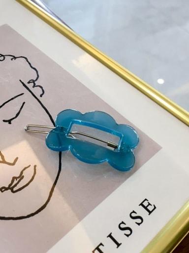 Rectangle blue Cellulose Acetate Minimalist Hollow Geometric Hair Pin