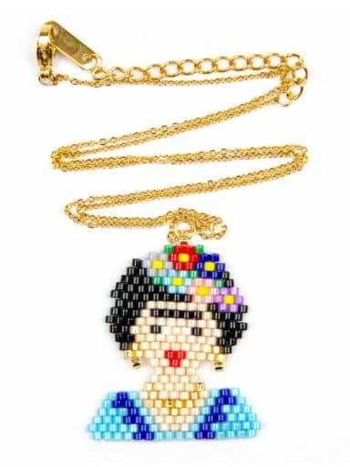 MI N180241B Stainless steel Multi Color Miyuki beads Icon Bohemia Pure handmade, Necklace