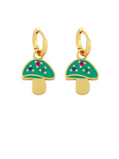 green Brass Enamel Mushroom Bohemia Stud Earring