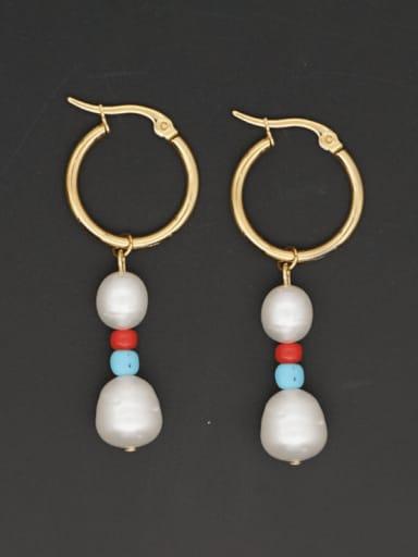 Brass Freshwater Pearl Geometric Ethnic Drop Earring