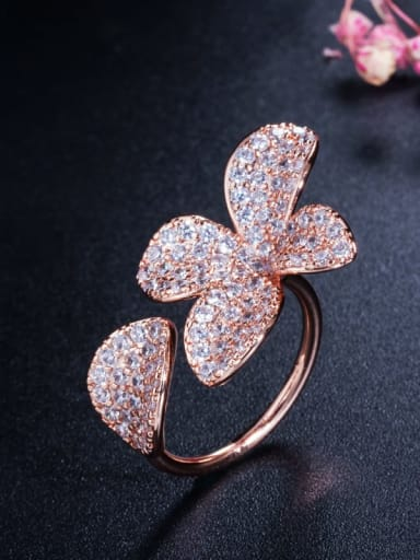 rose gold Brass Cubic Zirconia Flower Luxury Statement Ring