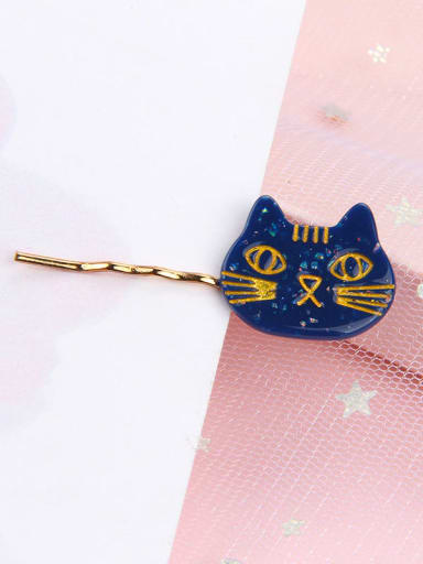 blue Alloy Cellulose Acetate Cute Cat  Hair Pin