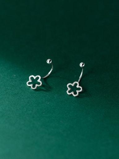 925 Sterling Silver Hollow Flower Minimalist Stud Earring