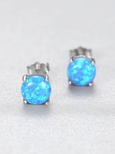 Blue 24A03 925 Sterling Silver Opal Geometric Minimalist Stud Earring